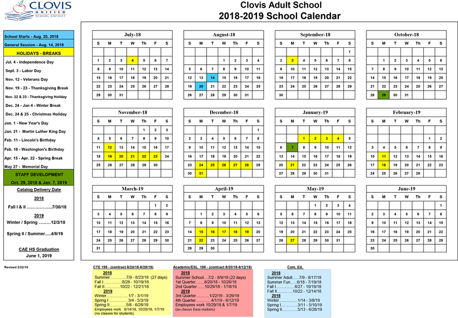 Clovis Adult School Annual 2018/2019 Calendar  (Click image for the PDF)