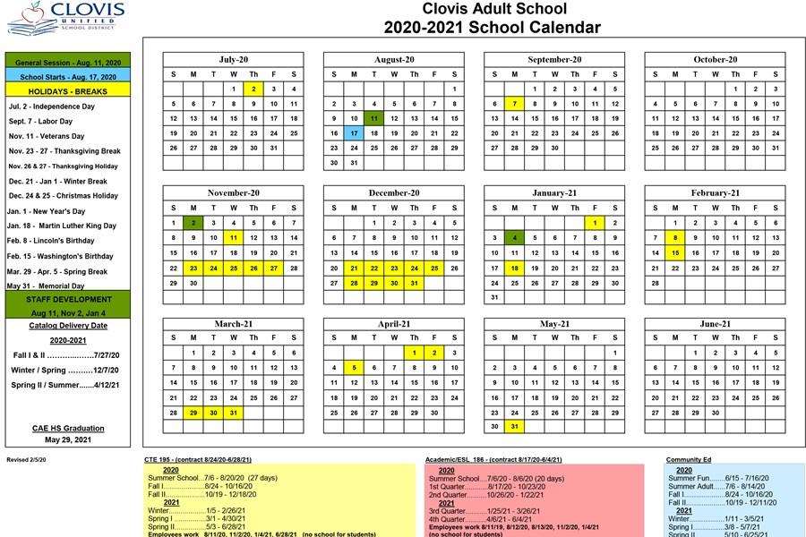 Clovis Adult All School Calendar
