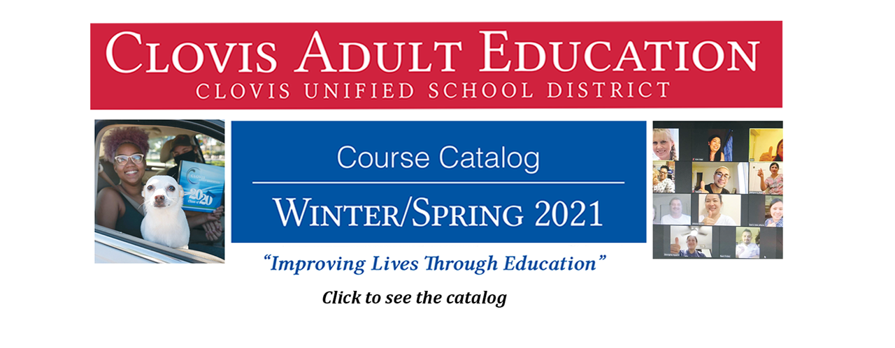 Clovis Adult Education Course Catalog for Winter 2021
