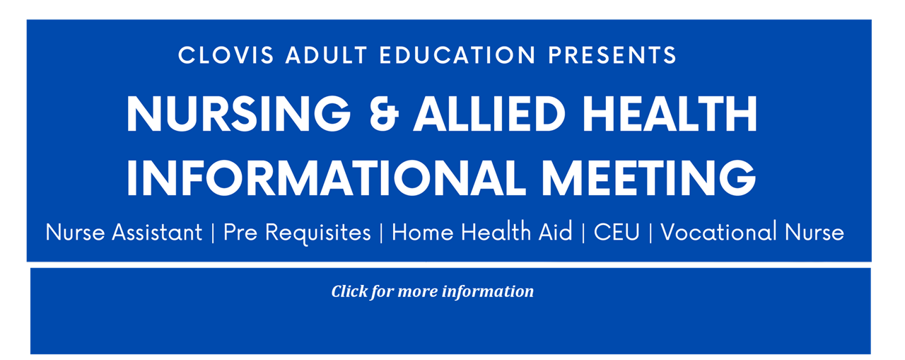 Nursing and Allied Health Careers Informational Meeting (Click for more information)
