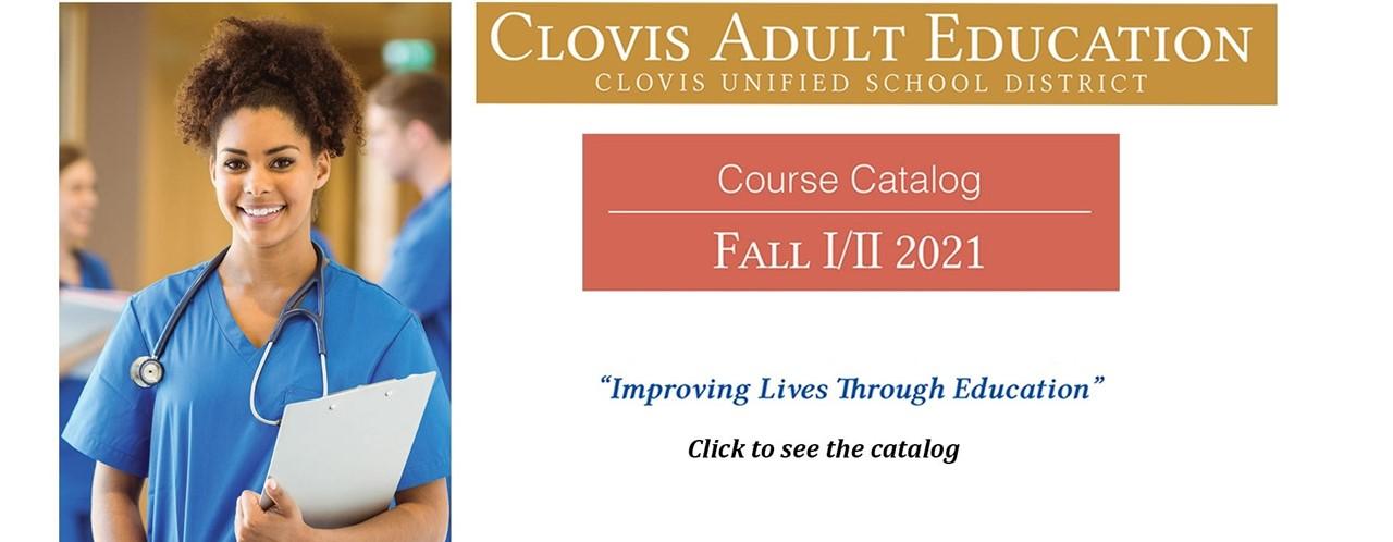 Clovis Adult Education Course Catalog for Fall II & II 2021