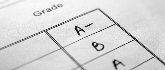 report card with grades written in